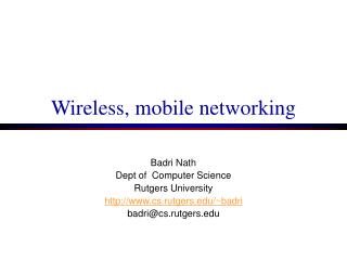 Wireless, mobile networking