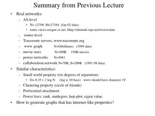Summary from Previous Lecture