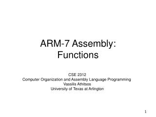 ARM-7 Assembly:  Functions