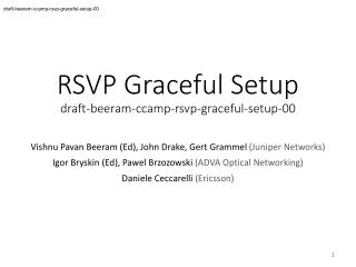RSVP Graceful Setup draft-beeram-ccamp-rsvp-graceful-setup-00