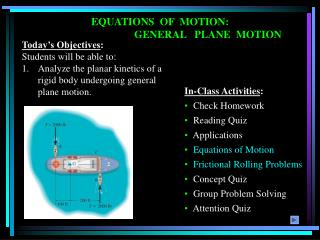 EQUATIONS  OF  MOTION:  			GENERAL   PLANE  MOTION