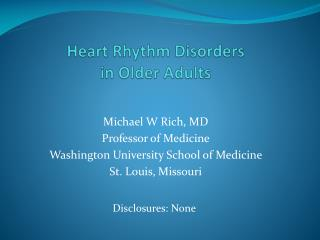 Heart Rhythm Disorders in Older Adults