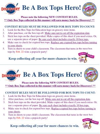 CONTEST RULES MUST BE FOLLOWED FOR BOX TOPS TO COUNT: