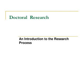 Doctoral  Research