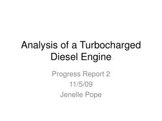 Analysis of a Turbocharged Diesel Engine