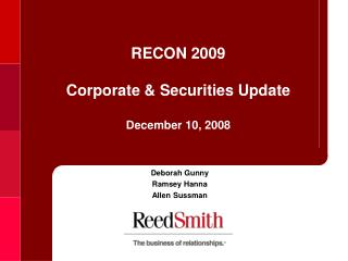 RECON 2009  Corporate & Securities Update  December 10, 2008