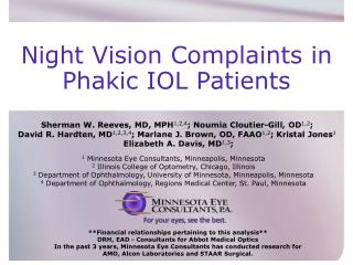 Night Vision Complaints in    Phakic IOL Patients