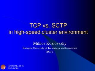 TCP vs. SCTP  in high-speed cluster environment