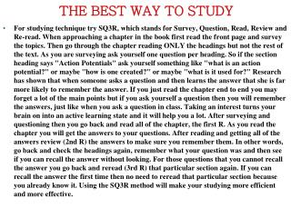THE BEST WAY TO STUDY