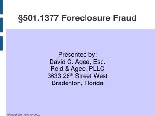 §501.1377 Foreclosure Fraud