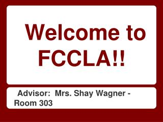 Welcome to FCCLA!!