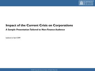 Impact of the Current Crisis on Corporations