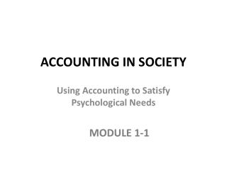 ACCOUNTING IN SOCIETY