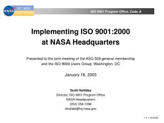 Implementing ISO 9001:2000  at NASA Headquarters