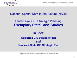 National Spatial Data Infrastructure (NSDI)  State-Level GIS Strategic Planning Exemplary State Case Studies In Brief: