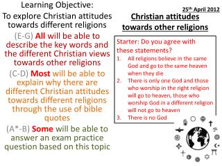 Christian attitudes towards other religions