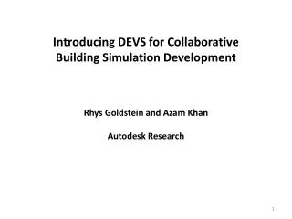 Introducing DEVS for  Collaborative Building Simulation Development