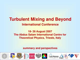 Turbulent Mixing and Beyond International Conference