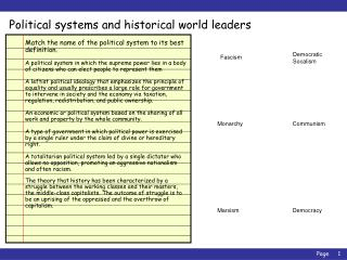 Political systems and historical world leaders