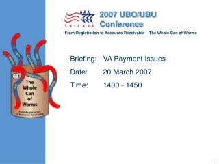 Briefing:	VA Payment Issues Date:	20 March 2007 Time:	1400 - 1450