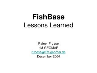 FishBase Lessons Learned
