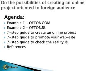 On the possibilities of creating  an  online project oriented to  foreign audience