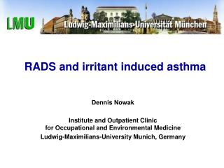 RADS and irritant induced asthma