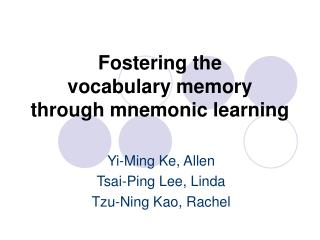Fostering the  vocabulary memory  through mnemonic learning