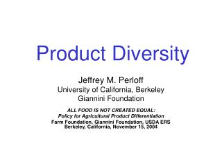 Product Diversity