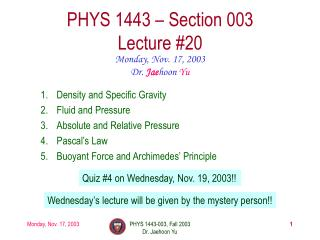 PHYS 1443 – Section 003 Lecture #20