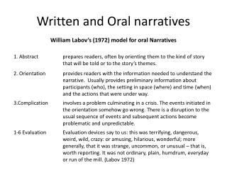 Written and Oral narratives