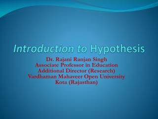 Introduction to  Hypothesis