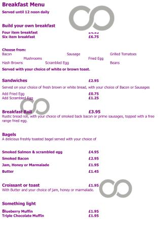 Breakfast Menu Served until 12 noon daily  Build your own breakfast