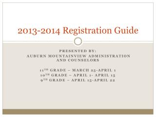 2013-2014 Registration Guide