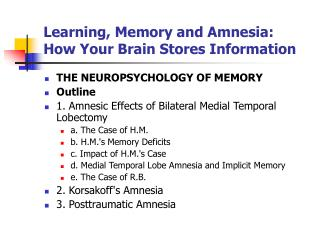 Learning, Memory and Amnesia: How Your Brain Stores Information