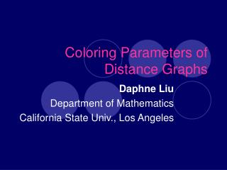 Coloring Parameters of  Distance Graphs
