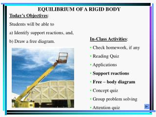 EQUILIBRIUM OF A RIGID BODY