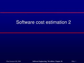 Software cost estimation 2