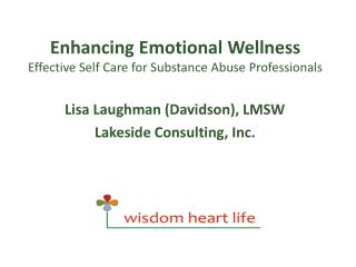 Enhancing Emotional Wellness Effective Self Care for Substance Abuse Professionals