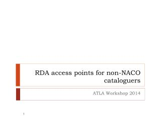 RDA access points for non-NACO cataloguers