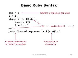 Basic Ruby Syntax