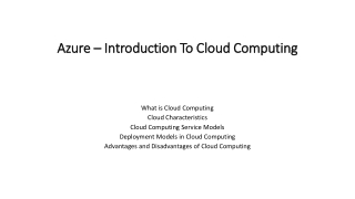 Azure – Introduction To Cloud Computing