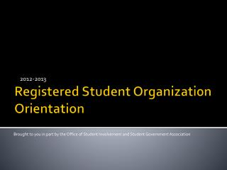 Registered Student Organization Orientation