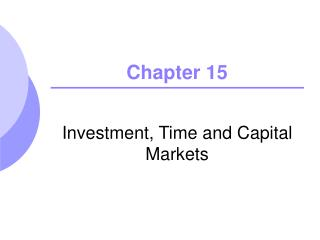Investment, Time and Capital Markets