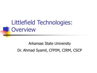 Littlefield Technologies: Overview