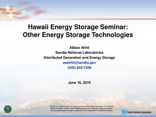 Hawaii Energy Storage Seminar: Other Energy Storage Technologies