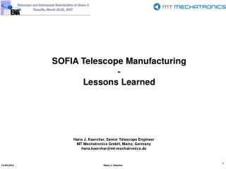 SOFIA Telescope Manufacturing - Lessons Learned