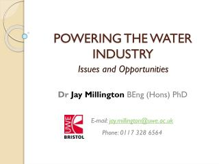 POWERING THE WATER INDUSTRY