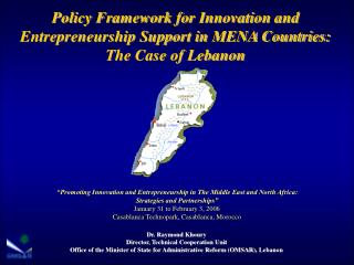 Policy Framework for Innovation and Entrepreneurship Support in MENA Countries: The Case of Lebanon