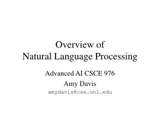 Overview of  Natural Language Processing